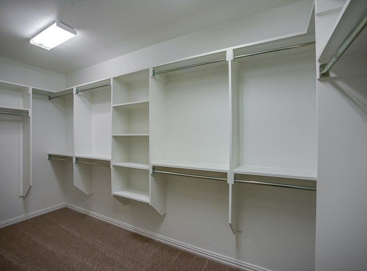 Large Master Closets with Built-in Shelving at Cottages at the Realm, Luxury Homes for rent in Castle Hills, Texas 75056
