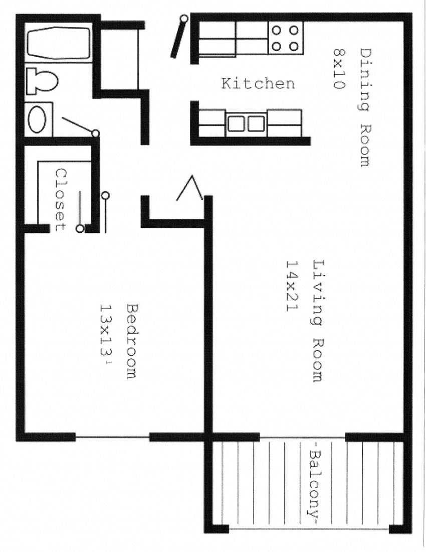Woodland North Apartments one bedroom outline