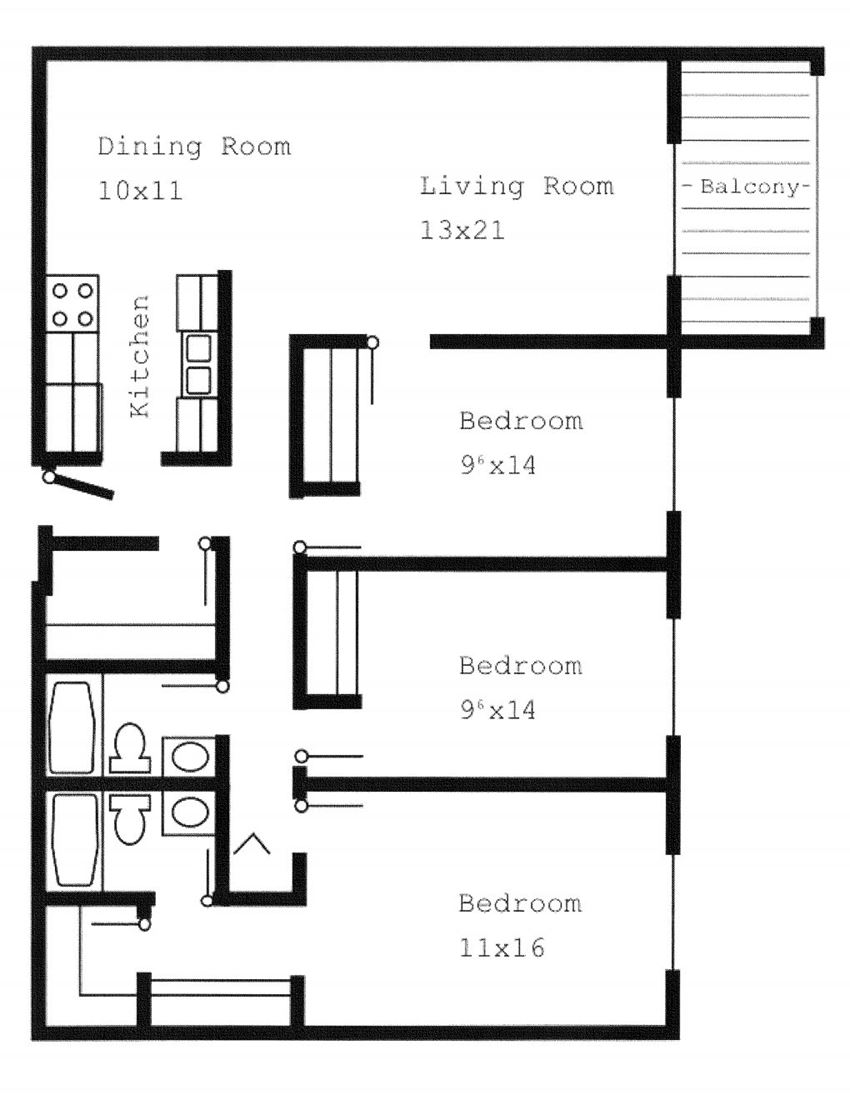 Woodland North Apartments three bedrooms outline