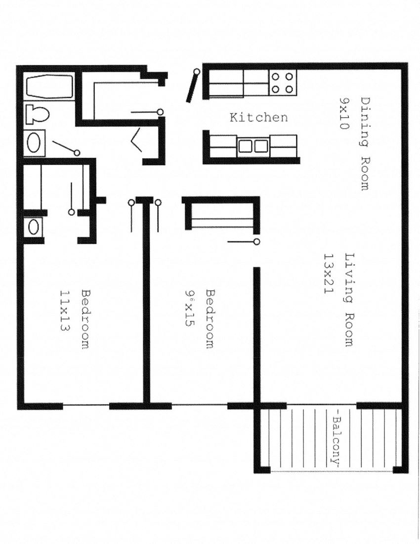 Woodland North Apartments two bedroom outline