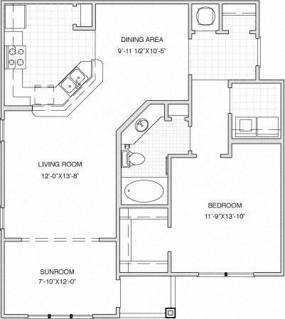 1 Bed / 1 Bath w/Sun Room Floor Plan 3