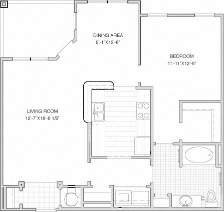 1 Bed / 1 Bath w/Deck Floor Plan 2