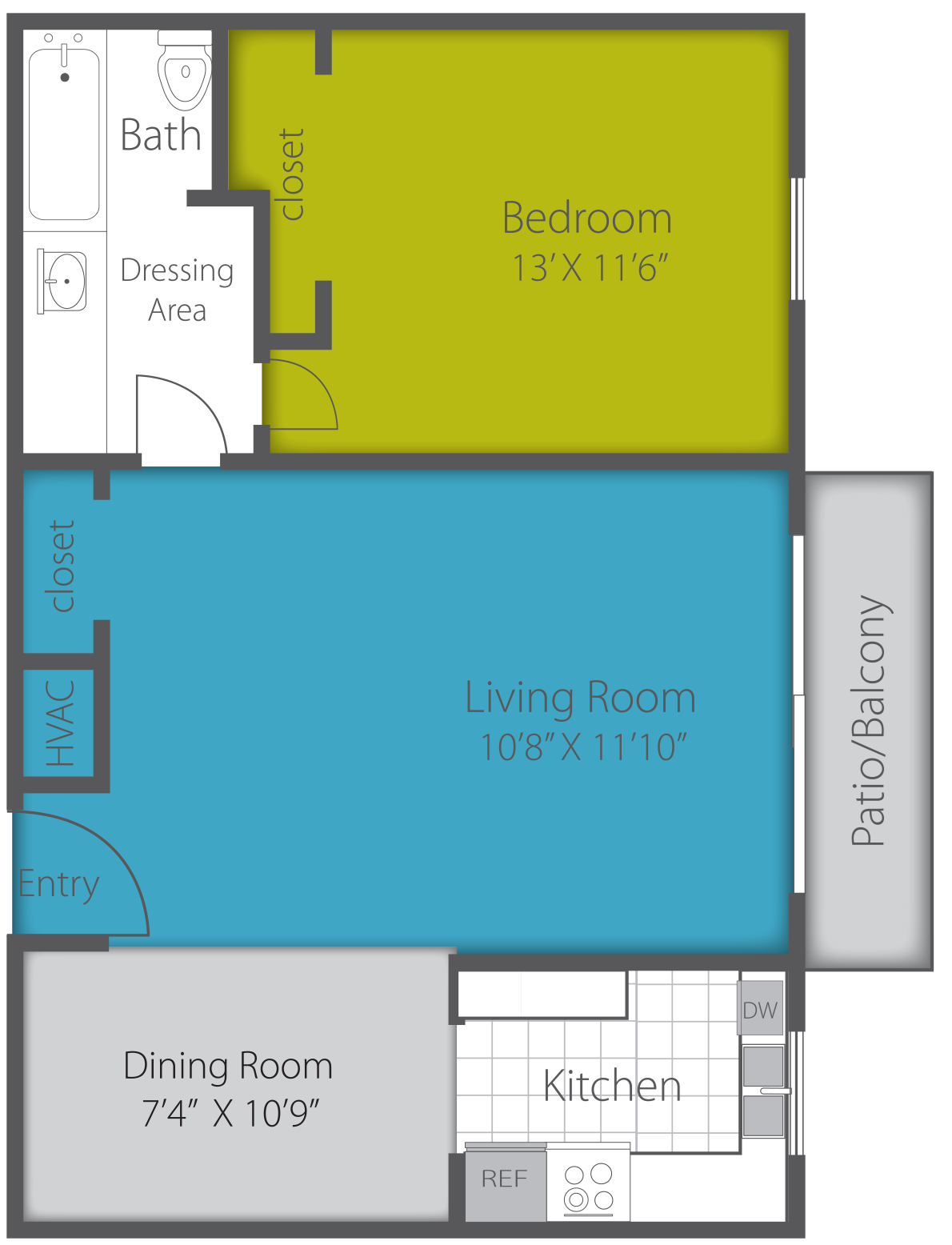 1X1 RENOVATED Floor Plan 4