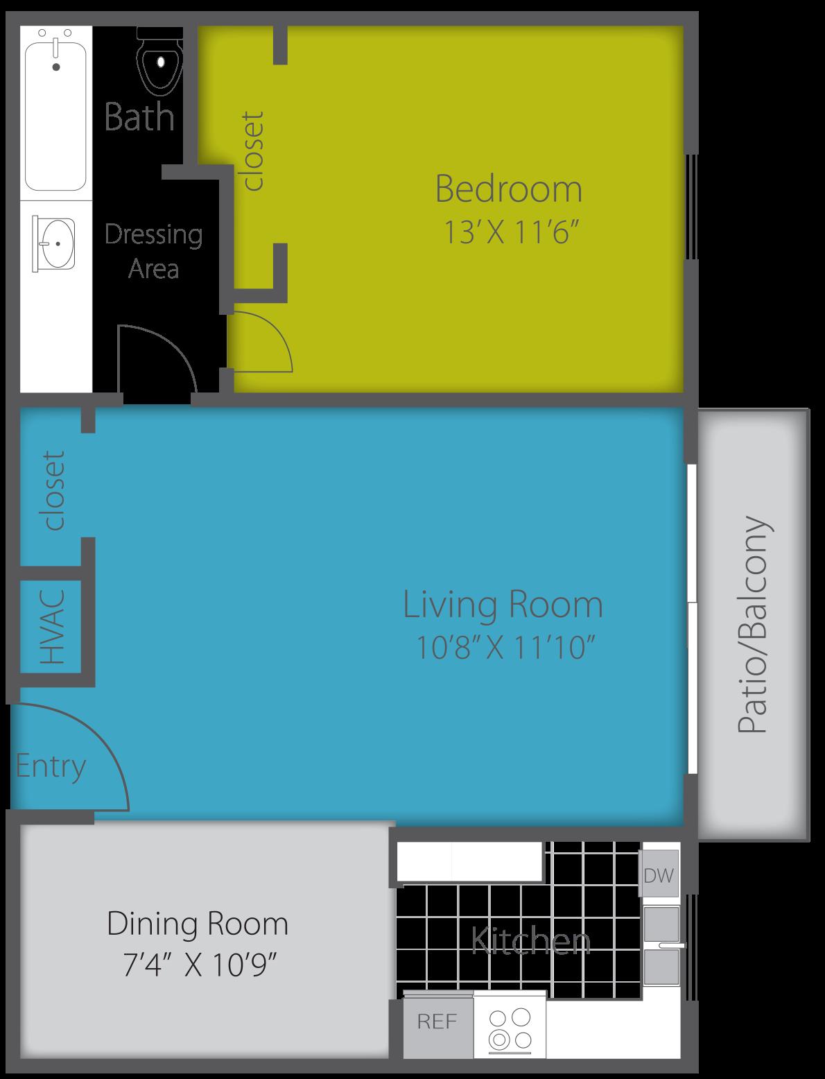 1X1 CLASSIC Floor Plan 3