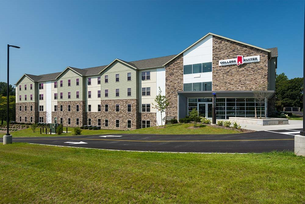 Comfortable, modern lounges at College Suites at Hudson Valley, New York