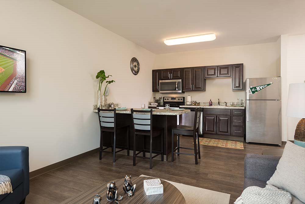 Fully Equipped kitchen at College Suites at Hudson Valley, New York