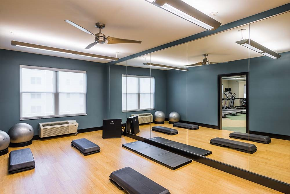 Yoga room at College Suites at Hudson Valley, New York, 12180