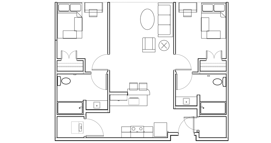 2 Bedroom/ 2 Bathroom Floor Plan 2