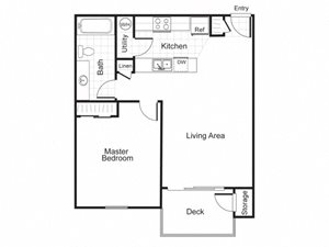 1 Bed 1 Bath A1 Floor plan, at Newberry Square Apartment Homes, Lynnwood, WA