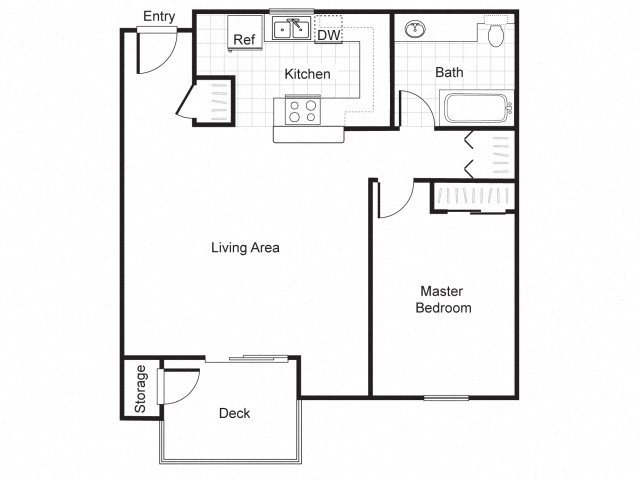 1 Bed 1 Bath A2 Floor plan, at Newberry Square Apartment Homes, Lynnwood, 98087
