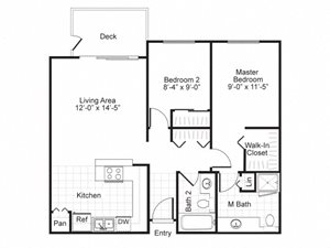 2 Bed 2 Bath B1 Floor plan, at Newberry Square Apartment Homes, Washington, 98087