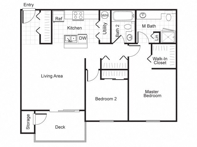 2 Bed 2 Bath B2 Floor plan, at Newberry Square Apartment Homes, Lynnwood, Washington