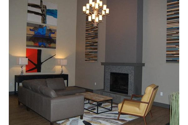 Fireplace in Living Room, at Newberry Square Apartment Homes, Lynnwood, WA
