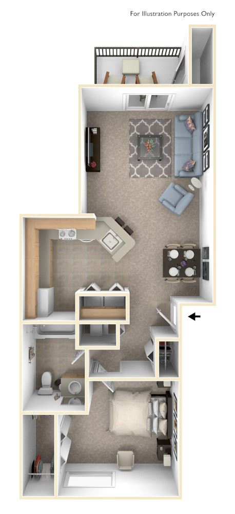 Traditional One Bedroom Floor Plan at Autumn Lakes Apartments and Townhomes, Indiana, 46544