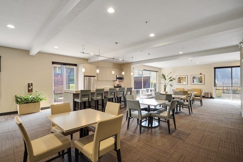 Community kitchen and seating area