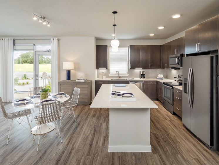Euro Style Cabinets in kitchen at Tradehouse at Bulverde Marketplace, San Antonio, 78247