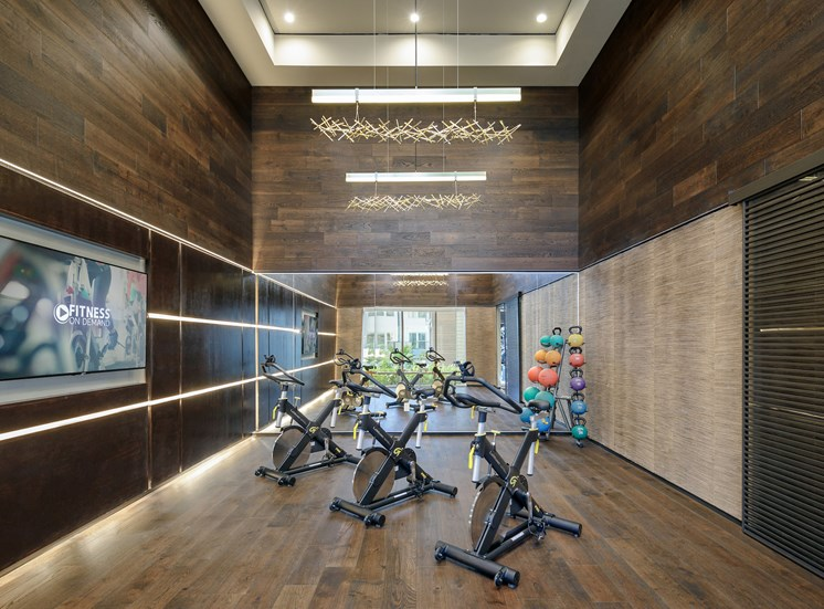 Fitness Center with Separate Spin Room at Tradehouse at Bulverde Marketplace, Texas