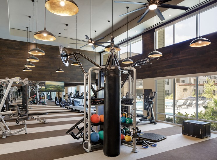 Fitness Center With Punching Bag at Tradehouse at Bulverde Marketplace, Texas, 78247