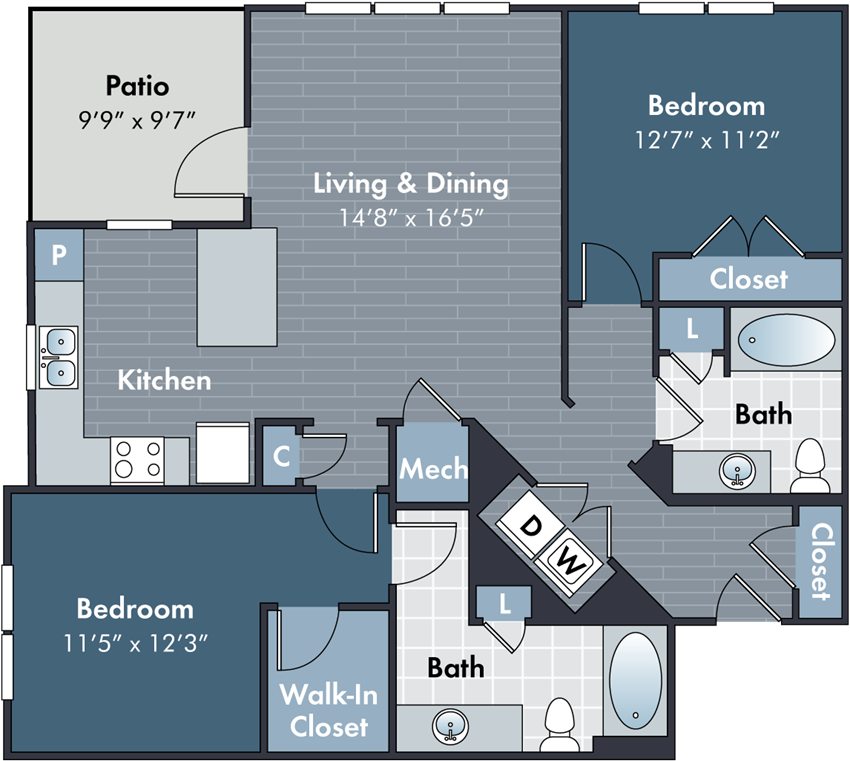 Mifflin Floorplan at Abberly Market Point Apartment Homes by HHHunt, Greenville, South Carolina
