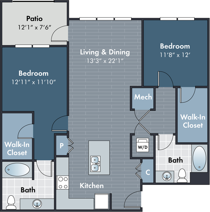 Miles Floorplan at Abberly Market Point Apartment Homes by HHHunt, Greenville