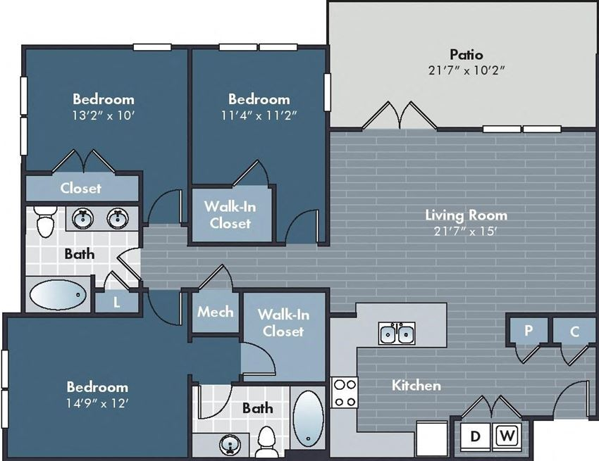 Millie Floorplan at Abberly Market Point Apartment Homes by HHHunt, Greenville, SC