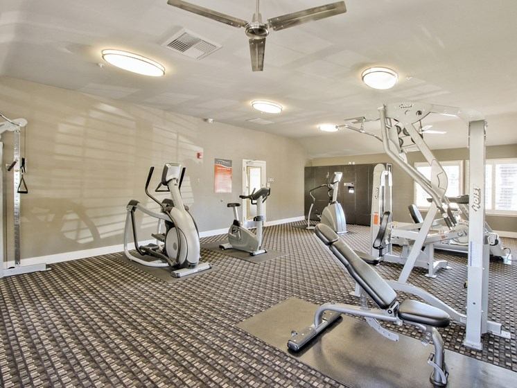 Fully body work out center includes cardio, weights, and strength training equipment.