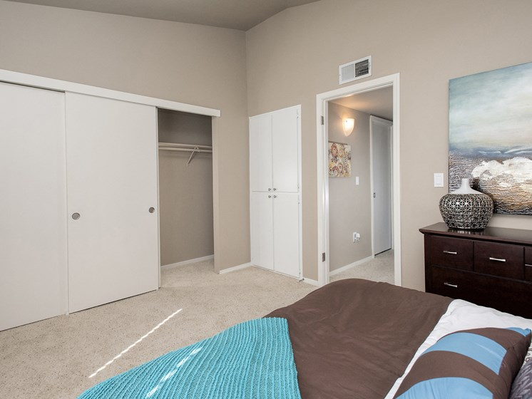 Spacious bedroom with large closets and plush carpeting.