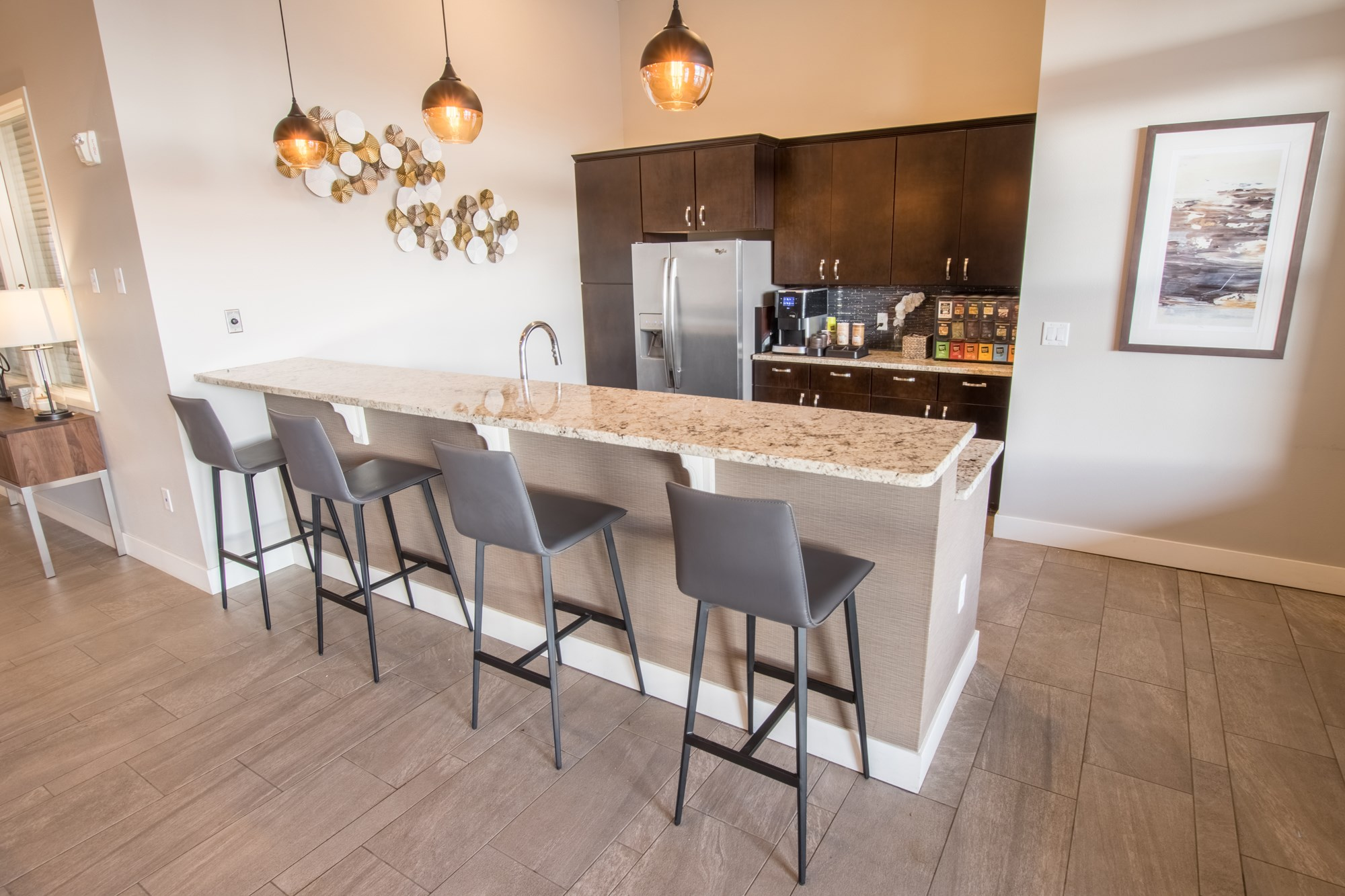 Clubhouse Kitchen at Skye at Arbor Lakes Apartments in Maple Grove, MN