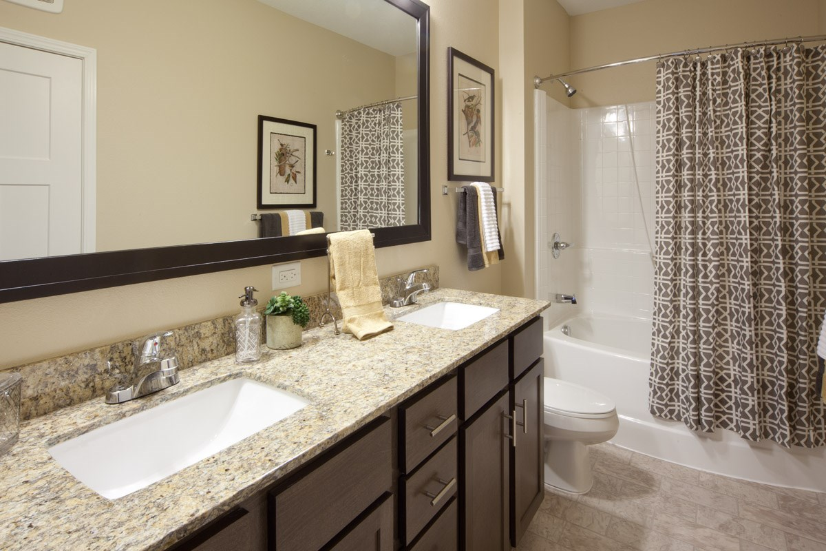 Bathroom at Skye at Arbor Lakes Apartments in Maple Grove, MN