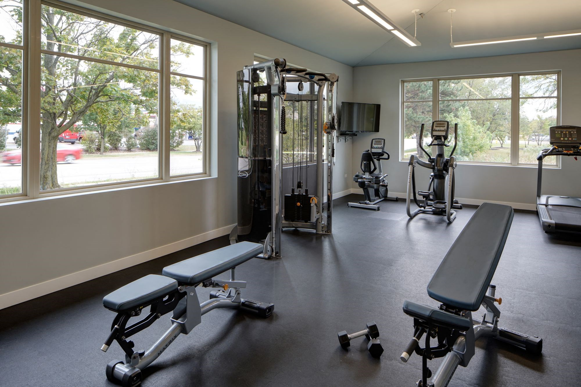 Fitness Facility with Yoga and Strength Training, at Eagle Creek Apartments, Westmont, 60559