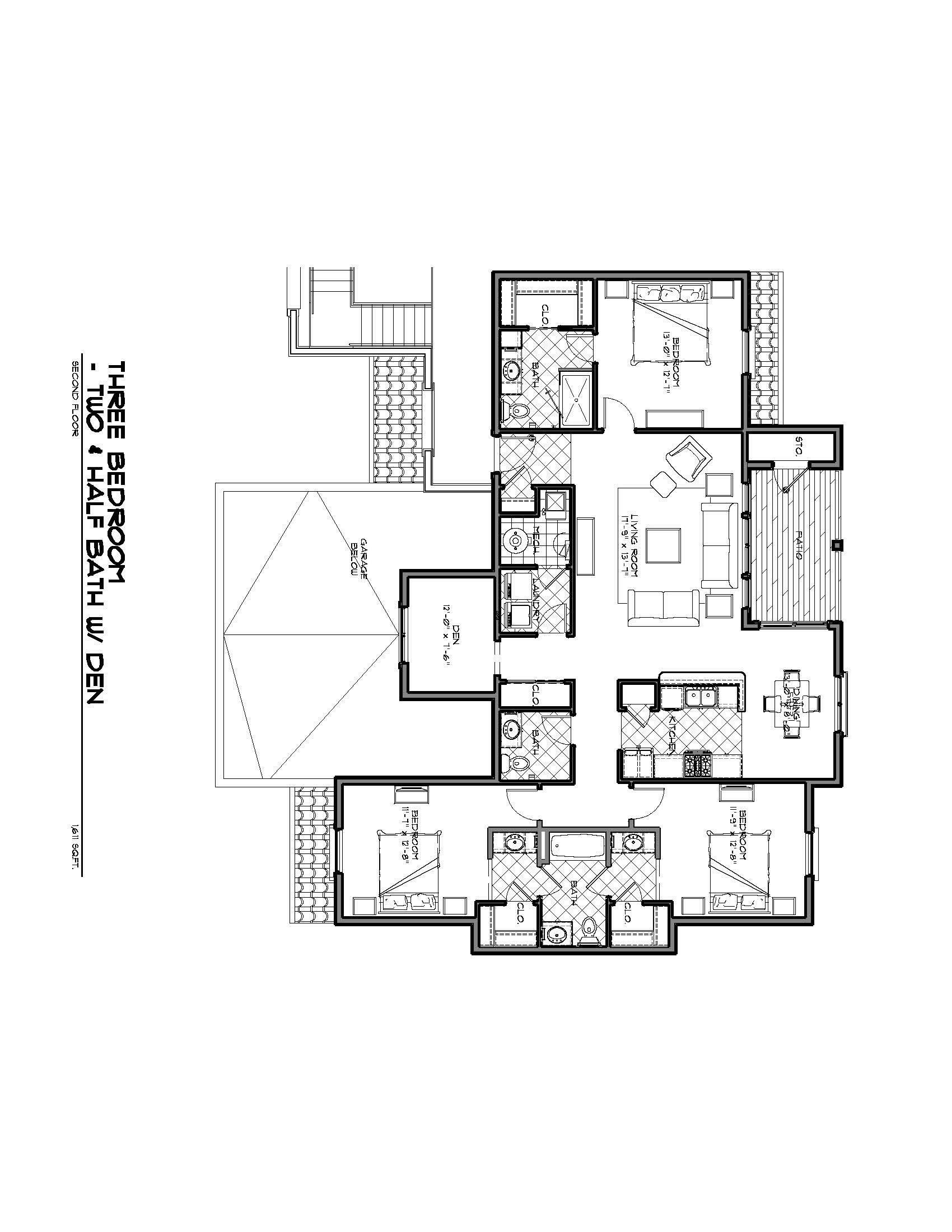 The Valentino (w/ den) Floor Plan 9