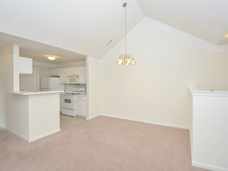 Spacious Open Concept Dining Room Area with Vaulted Ceilings