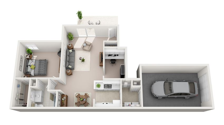 961 sq.ft. One Bed One Bath
