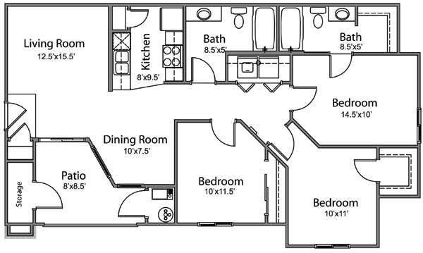 3 bed 2 bath Floor Plan 3
