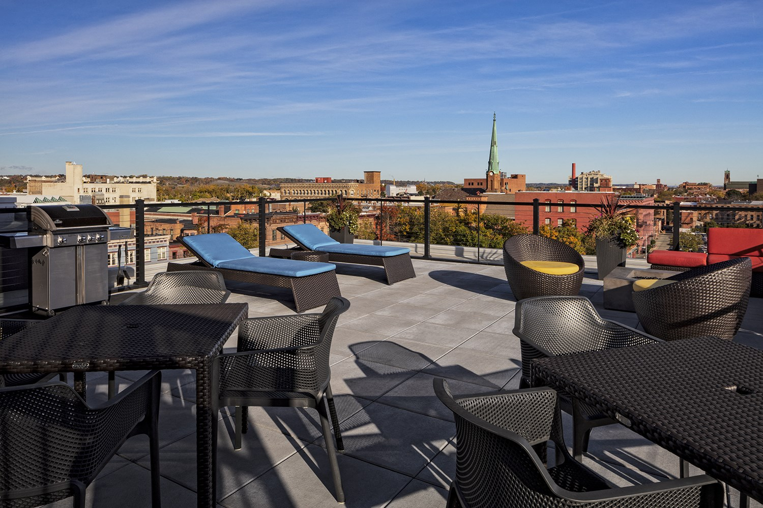 Rooftop Deck with Gas Fire Pit and Grilling Station at The News Apartments in Troy, NY