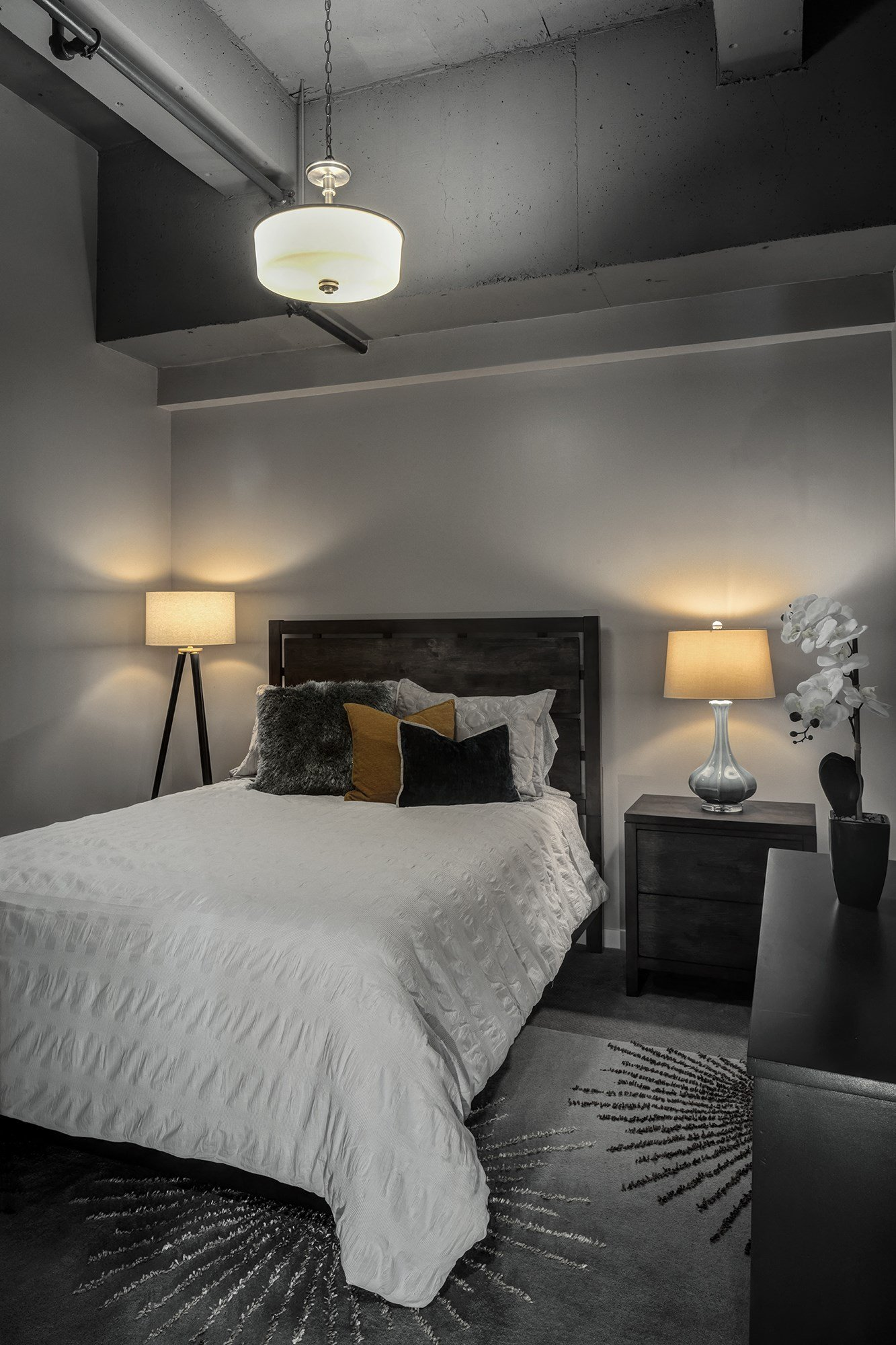 Interior Bedroom with Exposed Original Concrete Ceilings in Historic Building at The News, Troy, 12180