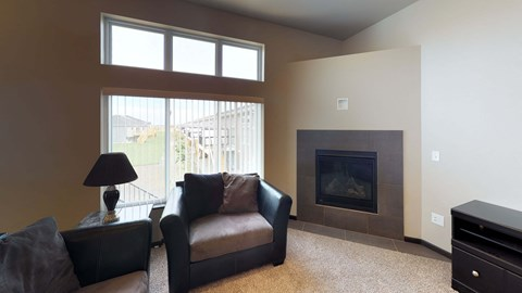 fireplace, gas fireplace, living room, large windows