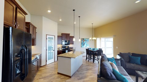 kitchen, island, cabinets, pantry, dining area
