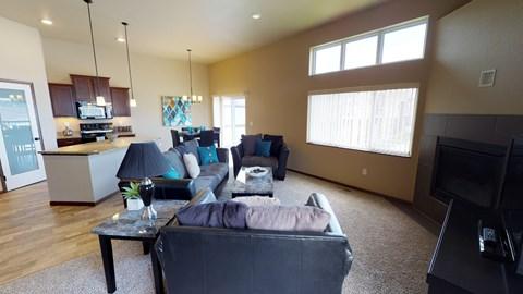 living area, fireplace, furniture