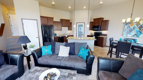 kitchen, island, cabinets, pantry, couch, living area