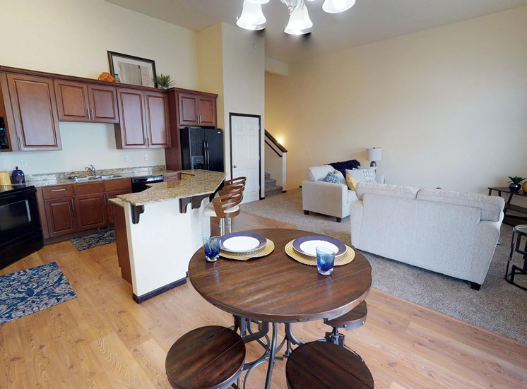 kitchen, island, dining area