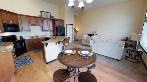 kitchen, island, dining area
