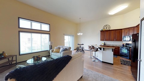 kitchen, island, living room, dining area