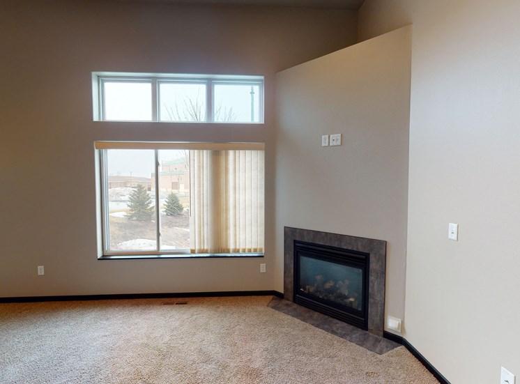 living area, fireplace