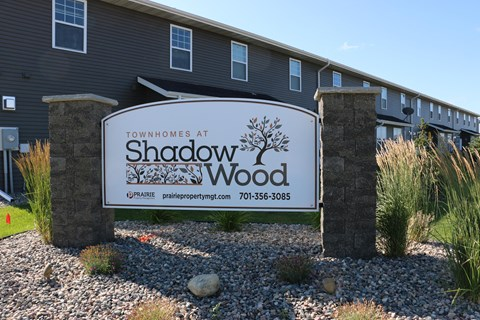 exterior sign, shadow wood townhomes, west fargo