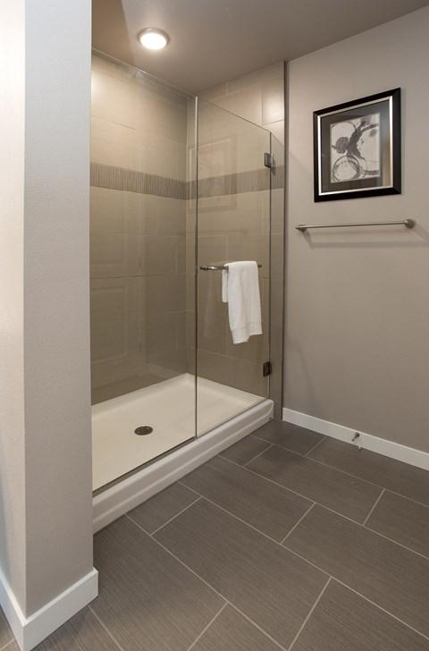 Tiled Shower, glass door