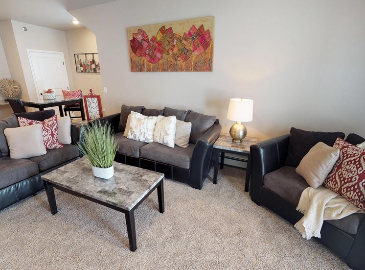 living room, couches, coffee table, moorhead apartment