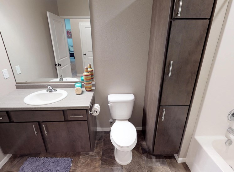 bathroom, sink, toilet, linen closet, apartment in moorhead