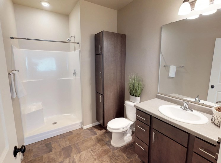 bathroom, shower, sink, mirror, toilet, linen closet, moorhead apartment