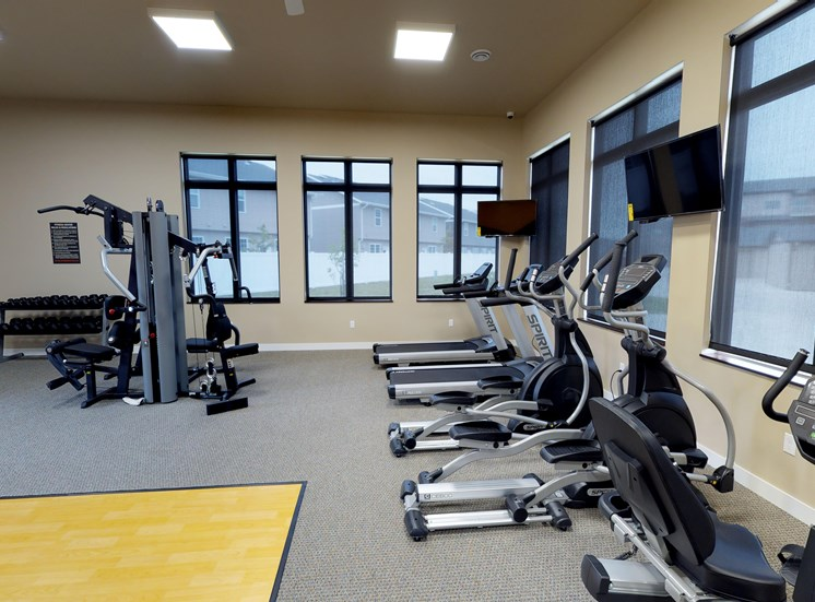 fitness center, gym, workout equipment